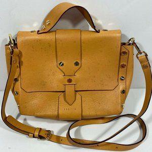 Sandro Mustard Tan Leather Crossbody Satchel FLAW